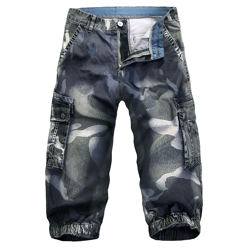 Mens Fashion Cargo Denim Biker Denim Jean Shorts Straight Jeans Short
