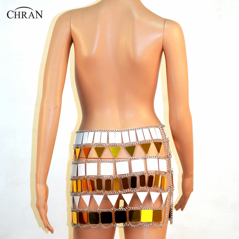 Chran Perspex Crop Top Chain Mini Skirt EDC Outfit Harness Necklace Body Lingerie Metallic chain Belly Dress Jewelry CRM807