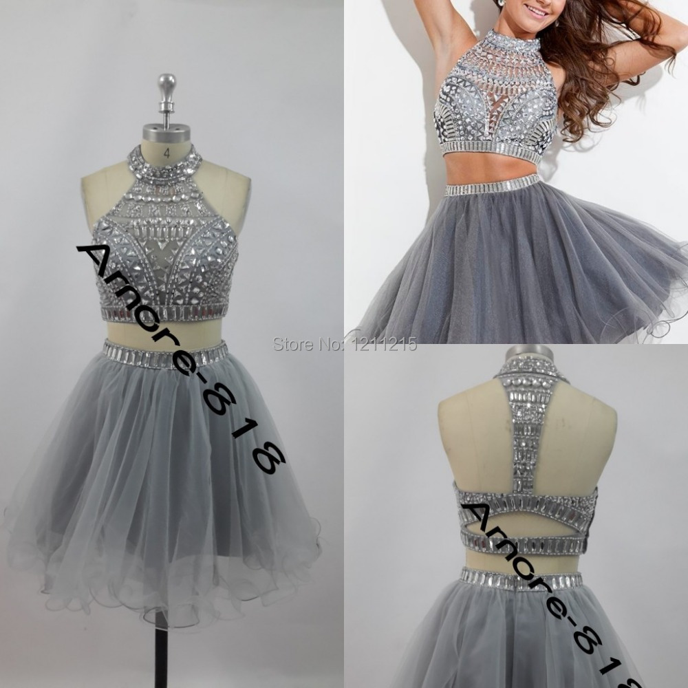 d5896e287b23 Sexy Short Cocktail Gowns Rachel Allan High Neck Beaded Crystal Two Pieces  Hollow Silver Grey Tulle Ball Gown Homecoming Dresses