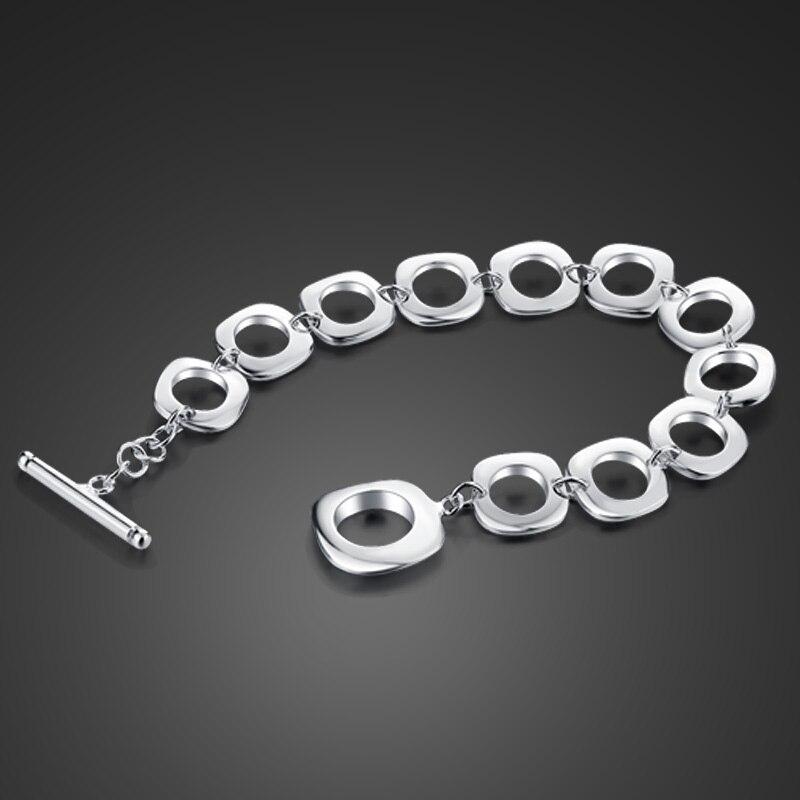 Woman sterling silver bracelet Fashion 925 silver wide bracelet Simple solid silver Square pattern bracelet wholesale jewelry