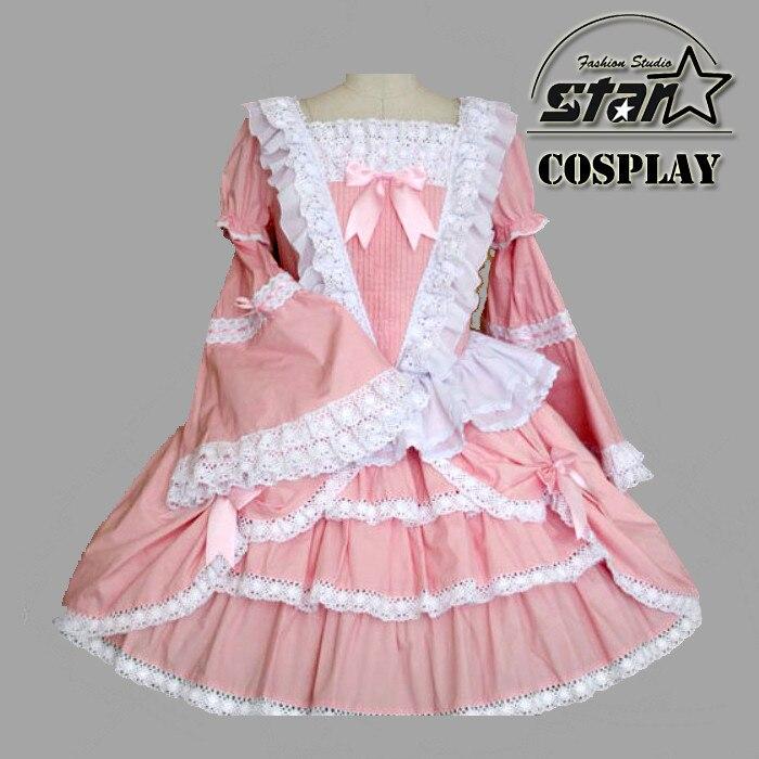 2018 Japanese Girls School Sailor Dress Cosplay Costume Anime Girl Lolita Dress Striped Halloween Cosplay Pink Costume japanese sailor lolita cosplay thick platform cross