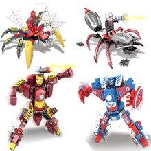 LegoINGly Avengers 4 Final Wars Superheros Hulk Thanos Captain Marvel Spider-man Figures Building Blocks Bricks Toy For Children