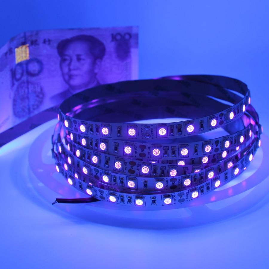 HTB1ZXkTonvI8KJjSspjq6AgjXXaD UV Led Strip light 5050 SMD 60leds/m 395-405nm Ultraviolet Ray LED Diode Ribbon Purple Flexible Tape lamp for DJ Fluorescence