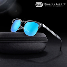 W&E Semi-Rimless Fashion Brand Polarized Sunglasses Mens Womens Classic Small Frame Driving Mirror UV400