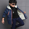 2016 Winter Children's Casual Fleece Long Denim Jacket Boys Fashion Thickening Hooded Trench Coat Kids Outerwear