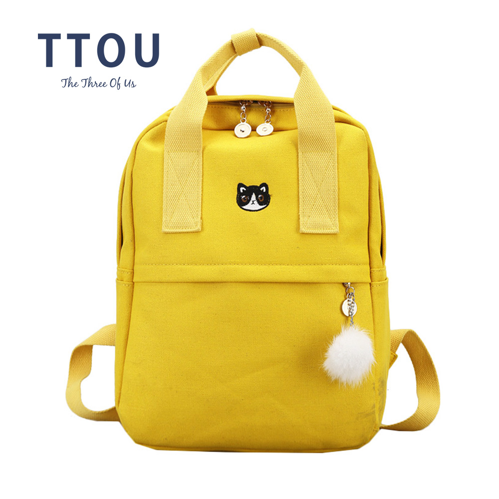 TTOU Japan and Korea Style Harajuku Cute Embroidery Cat Crown Canvas Backpack Lovely Preppy Style Satchel School Bag For Girls preppy style drawstring and canvas design satchel for women