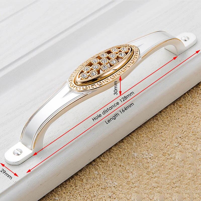KAK хрустальные золотые дверные ручки с бриллиантами, роскошные цинковые ручки для ящика шкафа, европейские ручки для шкафа, мебельные ручки - Цвет: Handle-803-128G