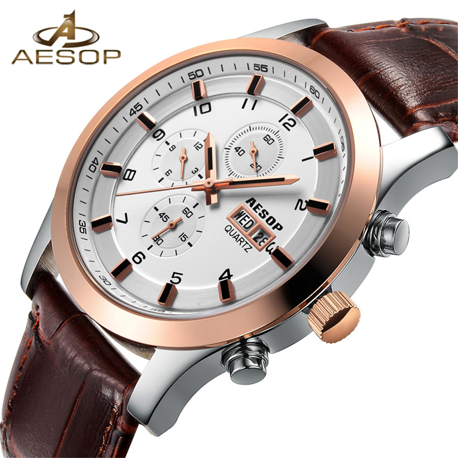 2018 New Watches Men Luxury Brand AESOP Chronograph Men Sports Watch Waterproof Leather Quartz Man Watch Mens Relogio Masculino r e6 2 4g wifi mirroring hdtv tv dongle miracast dlan airplay