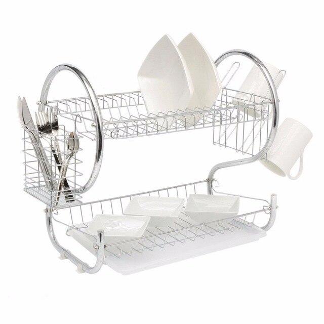2 Tier Home organizador de cocina cromado taza plato cuchillería escurridor  estante bandeja de goteo platos b445688cd092