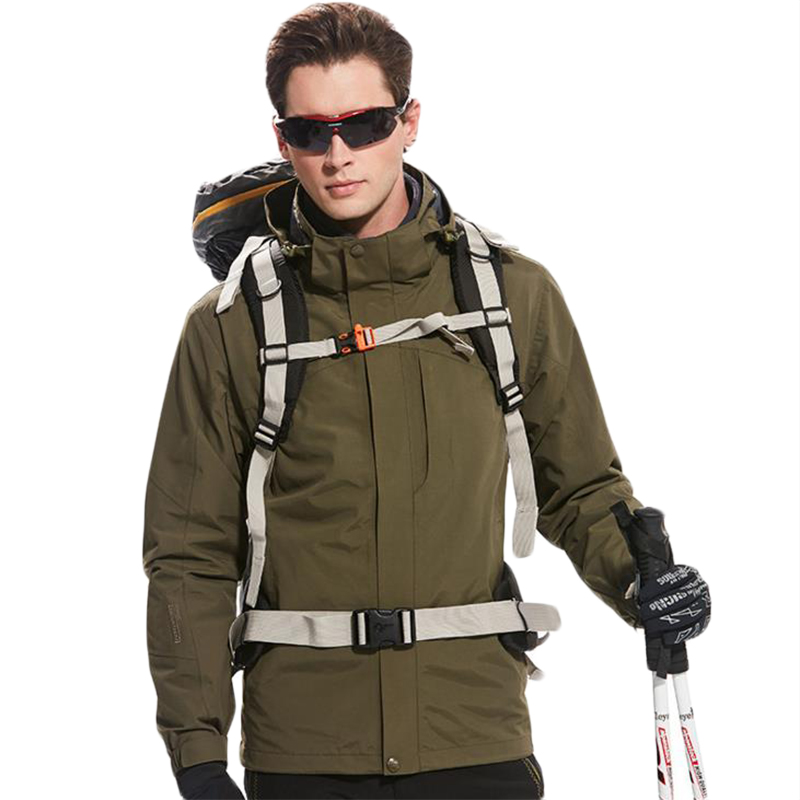 цены на Outdoor Hooded Jacket Men Double Layer Thermal Fleece Hiking Windbreaker Military Waterproof Sport Jackets Oversized Male Coats в интернет-магазинах