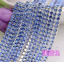 10 Meters SS12 3mm Color Blue Diamond Crystals Rhinestones Silver Plated  Setting Chain Trim 9b9fcd2560e7