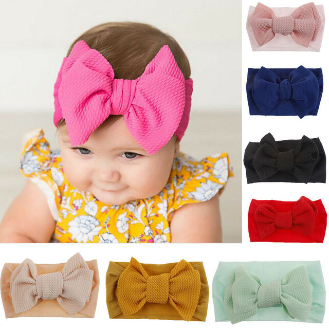 2019 Children Accessories Kid Girl Baby Headband Toddler Lace Bow Flower Hair Band Solid Candy Color Headwear Big Bowknot Sets