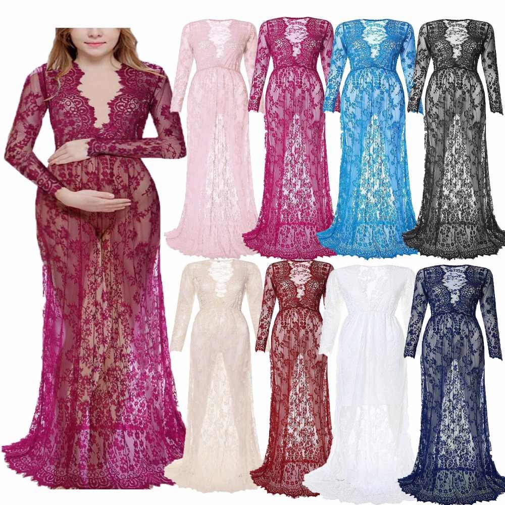 2018 Maternity Lace Dress Photography Pregnant Women Lace Vestidos Sexy Deep V-Neck Evening Dress Pregnancy Dress Size S-4XL