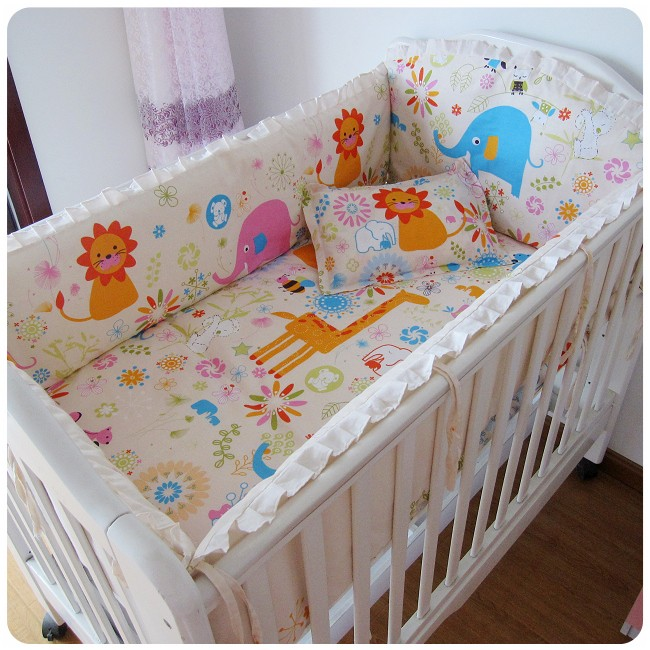 Promotion! 6PCS 100% Cotton Baby Boy Crib Bedding Set Cartoon Comfortable Newborn Baby Infant,include(bumper+sheet+pillow cover)