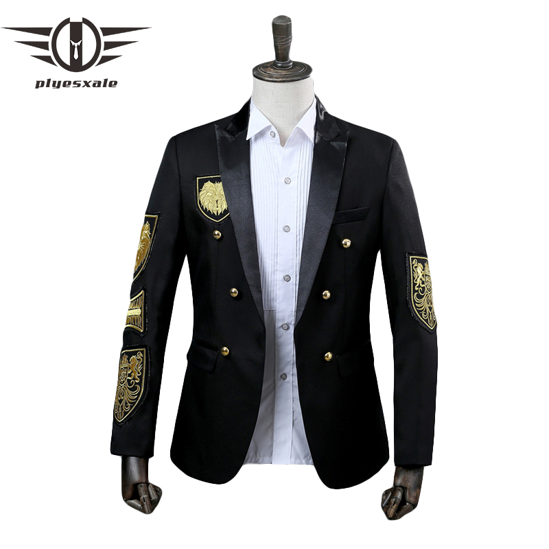 Plyesxale Double Breasted Blazer Men Military Medal Designs Embroidery Blazer Jacket Annual Performance Black Red Prom Wear Q294