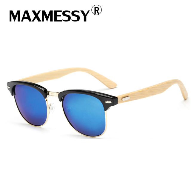 180c3288c8a MAXMESSY High Quality Semi-Rimless Classic Men Banboo Sunglasses Retro  Women Wooden Colorful Mirror Lens Sunglasses UV400 AS610