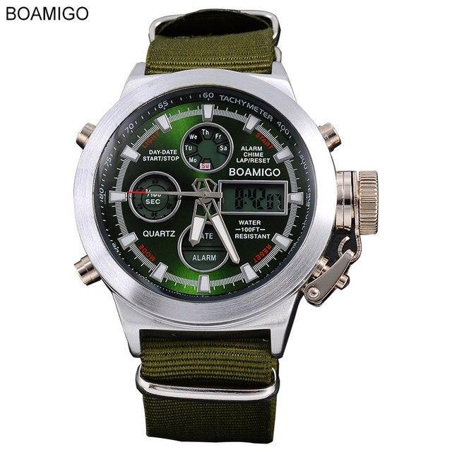 Boamigo Watches Men Sports Military Watches Dual Display Quartz Analog Digital LED Nylon Leather Waterproof Wristwatches