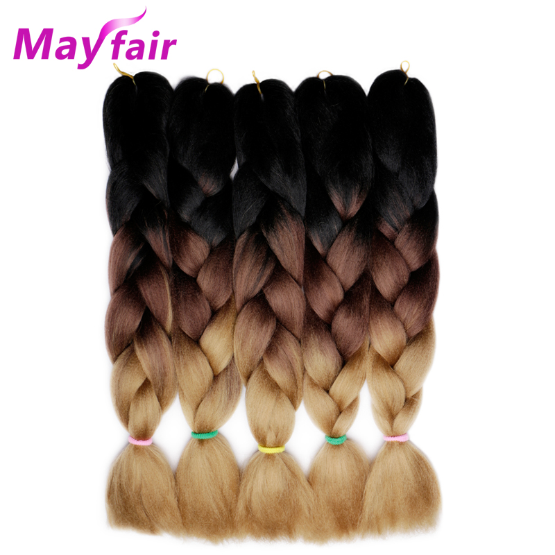 Marfair 5Pcs 24 100g/Pack 3 Tone Ombre Jumbo Braids Hair For Braiding Synthetic Hair Kan ...