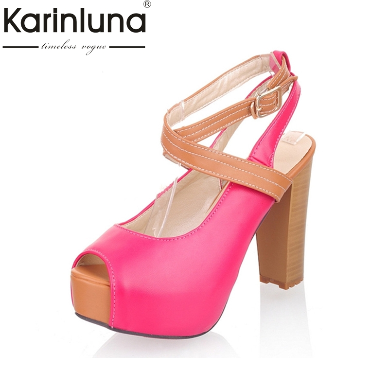 KARINLUNA 2017 Big Size 32-43 Peep Toe Platform Mixed Colors Women Shoes Sexy High Heels Party Wedding Sandals Lady Footwear zorssar brand 2017 high quality sexy summer womens sandals peep toe high heels ladies wedding party shoes plus size 34 43