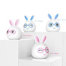 Touch Sensor Colorful LED Rabbit Night Light Silicone Bunny Animal Lamp USB Charging Bedroom Bedside Lamp for Children Baby Gift цена