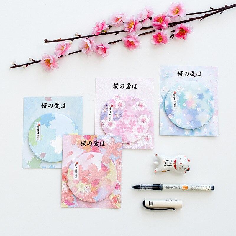4 шт./упак. японские вишни заметки мини Бумага для заметок милые Закладки label Наклейки Kawaii школьные канцелярские принадлежности
