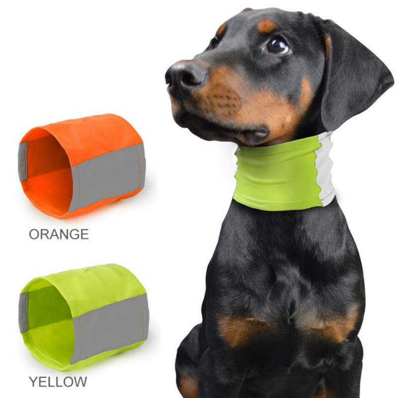 Safety Reflective Dog Scarf Greyhound Pet Fluorescence Collar Night Safety Puppy Collar Soft Breathable Scarf With Leash Hole