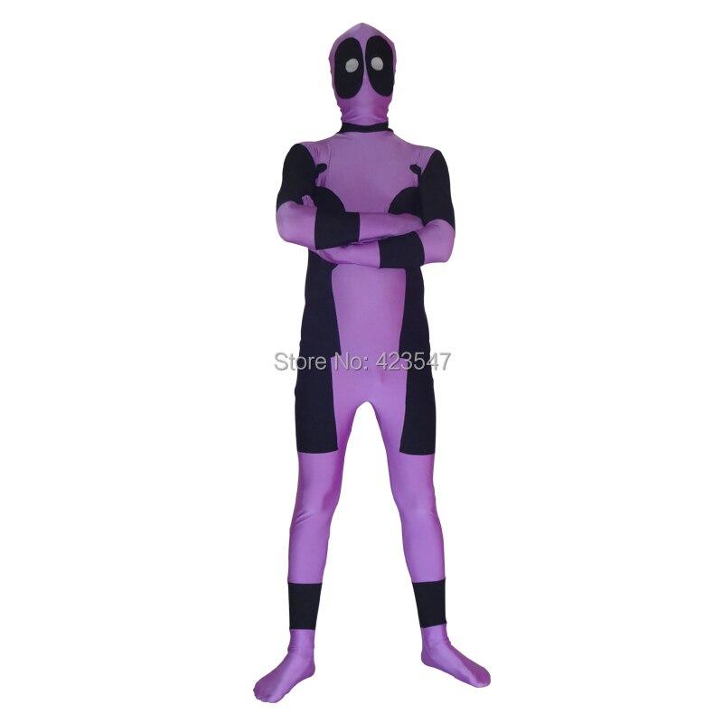 Purple & Black Spandex Deadpool Costume Halloween Party Cosplay Zentai Suit-Deadpool DCC3211