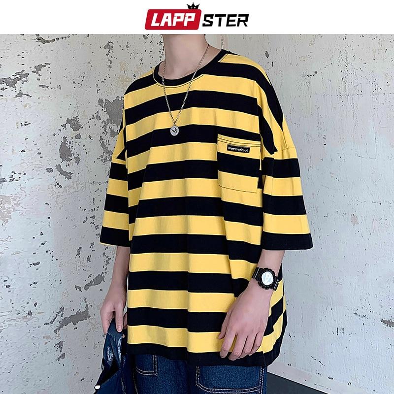 LAPPSTER Harajuku Stripe Tshirt Summer 2019 Mens Korean Style T Shirt Men Oversized Yellow Tshirts Hip Hop Casual Pocket T-shirt