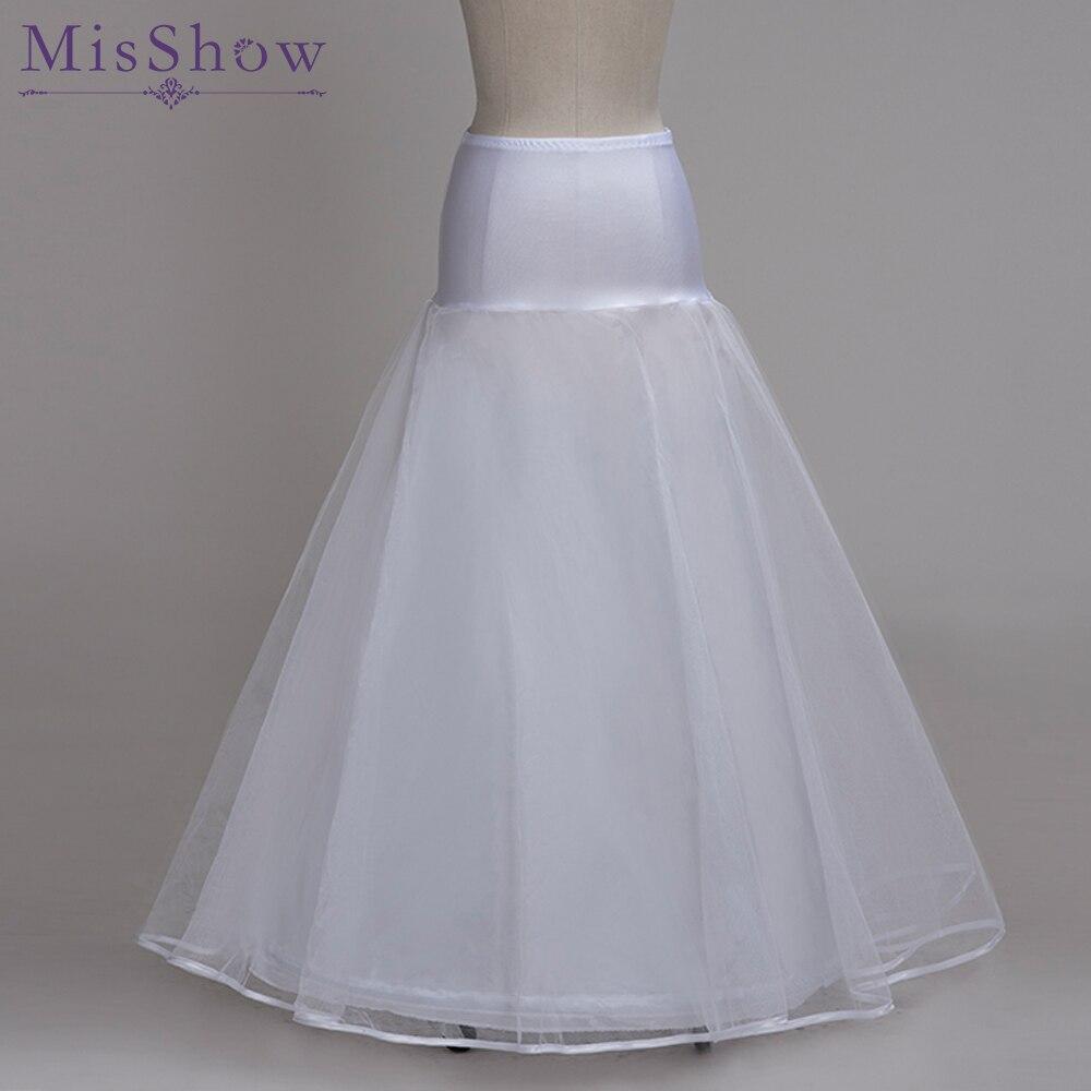 1 Hoop Bridal Slips Wedding Underskirt White Underdress Falda Brautpetticoat 100cm Long Crinoline A Line Petticoat 2 Layers 2019