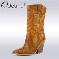 Odetina 2019 Fashion Embossed Microfiber Leather Women Mid Calf Boots Pointed Toe Western Cowboy Boots Women Slip On Tabs Boots
