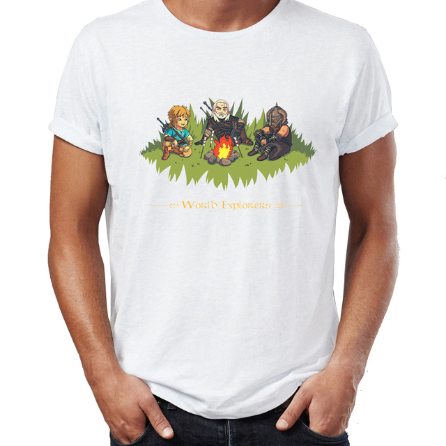 eec64943 Men's T Shirt World Explorers Link Geralt and Dragonborn Awesome Zelda  Skyrim Witcher Tee