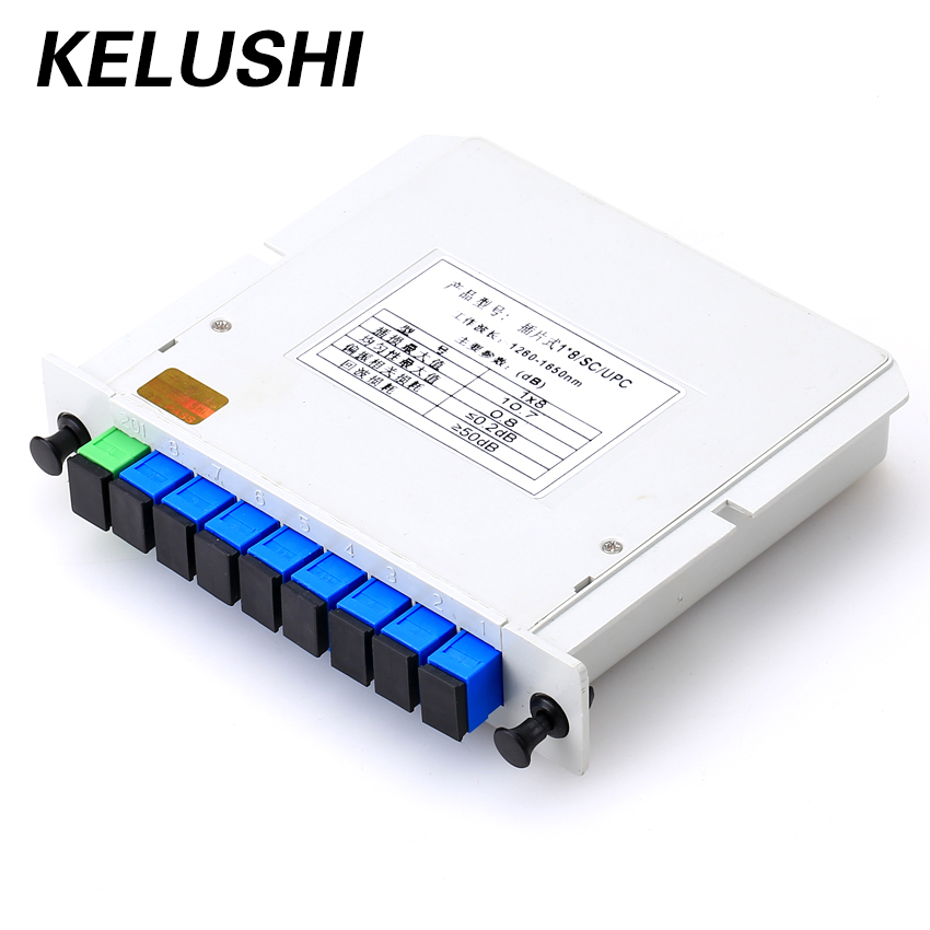 KELUSHI Fiber De Ramification Dispositif 1x8 Boîte Cassette Carte Insertion PLC splitter Module SC Connecteur De Fiber Optique PLC Fiber outil