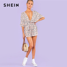 SHEIN Knot Front Plunging Neck Romper Women Deep V Neck Batwing Sleeve High Waist Boho Playsuits 2018 Sexy Wide Leg Romper