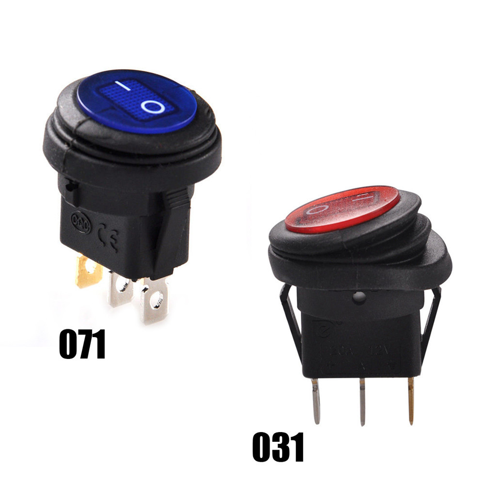 1 PC  Red LED Round 12V 3pin On/Off Rocker Switch Waterproof Auto Boat SPST Marine SPST