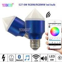6 W Magia Niebieski E27 RGBW/RGBWW ściemniania żarówka led smart Bluetooth Smartphone sterowania multicolor IOS Android, AC85-265V