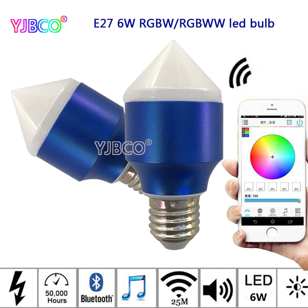 6W Magic Blue E27 RGBW/RGBWW led smart Bluetooth dimmable bulb Smartphone control multicolor IOS Android,AC85-265V icoco e27 smart bluetooth led light multicolor dimmer bulb lamp for ios for android system remote control anti interference hot