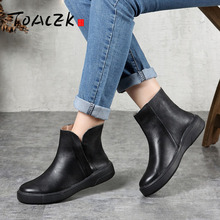 цены Women ankle boots Shoes Genuine Leather Vintage Zip Ladies Motorcycle Boots felt boots Female Snow Boot Short Fur Winter