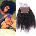 7А Lace Closure Отбеленные Узлы Монгольский Афро Кудрявый Вьющиеся Волосы Человека 4x4 Lace Closure Бесплатный Средний 3 Часть Kiny Вьющиеся Lace Closure