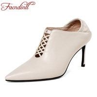 FACNDINLL 2018 Newest Sexy High Heels Pointed Toe Graceful Curve Design Maiden Party Dress Shoes Genuine