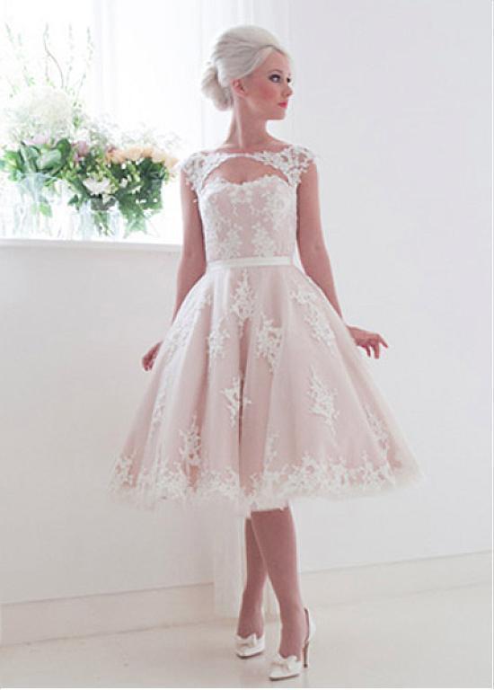 2017 Vintage 1960s Short Ball Gown Sleeveless Blushing Tea Length