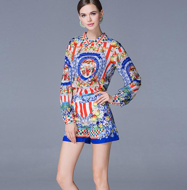 Chegada nova primavera verão 2016 da marca mulheres moda tops blusa testes padrões do vintage limão impressão blusa + curto duas peças shorts set