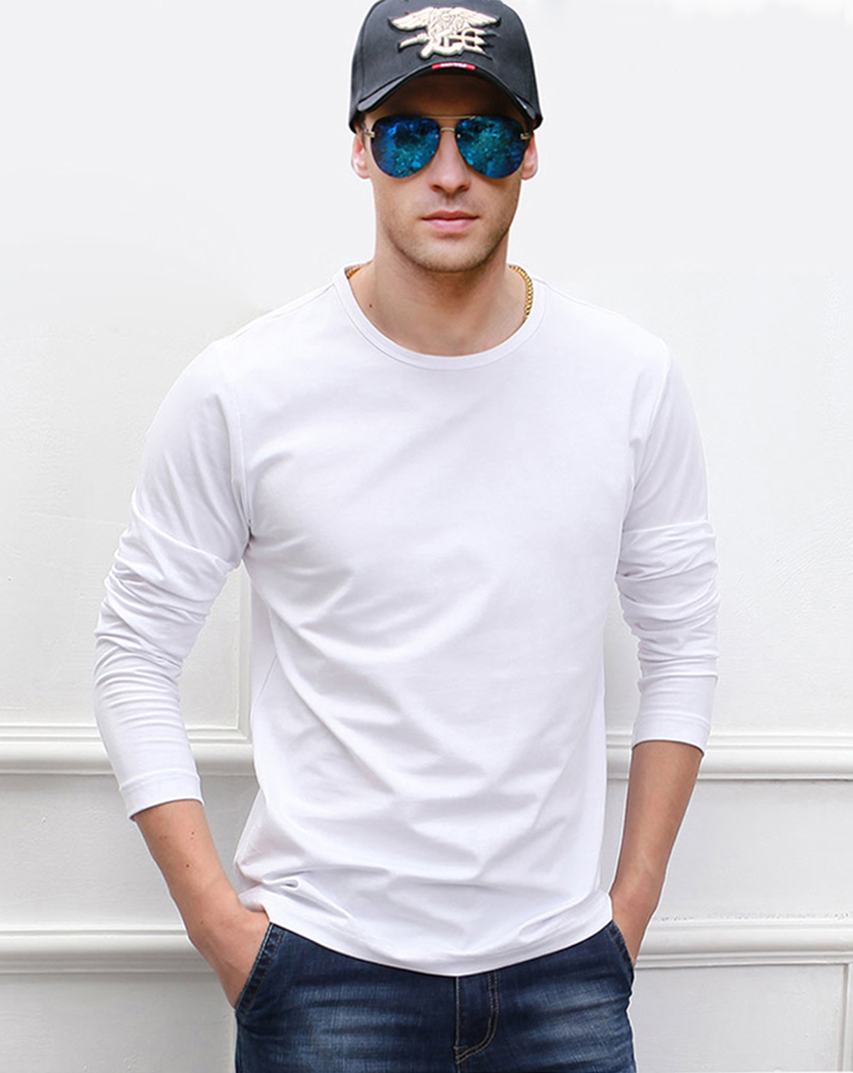 2019 Autumn Long Sleeve Men   T     Shirts   100% Cotton High Quality   T  -  Shirt   Solid Color Black White Gray Red Navy Bule All Size S-XXL