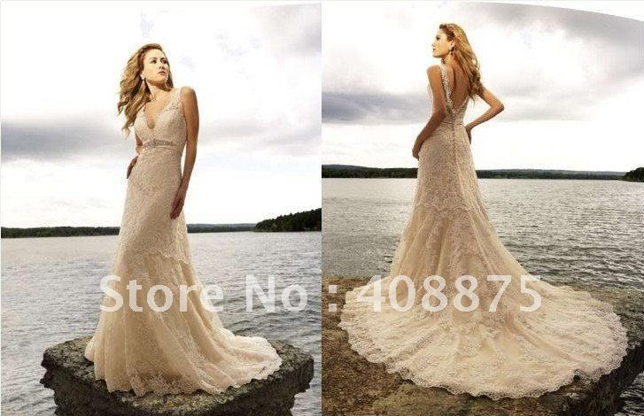Free Shipping Dark Ivory Lace Beach Wedding Dress Gown Size Self Defined In Dresses From Weddings Events On Aliexpress Alibaba Group