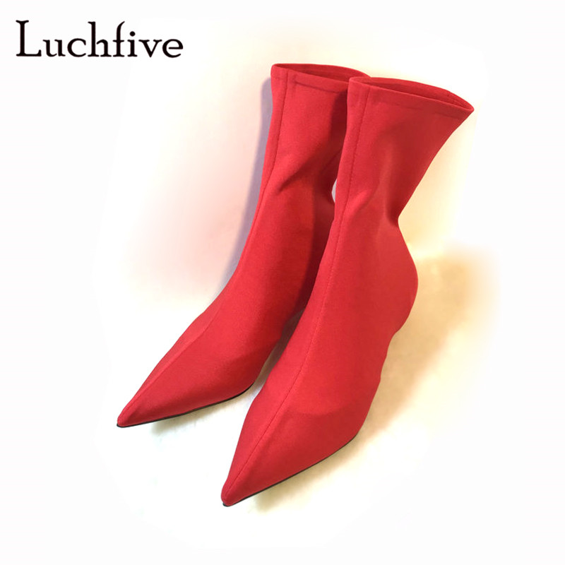 Fashion Stretch fabric pointed toe short boots women sexy strange heels slip on elastic ankle boots black red bota femininaFashion Stretch fabric pointed toe short boots women sexy strange heels slip on elastic ankle boots black red bota feminina
