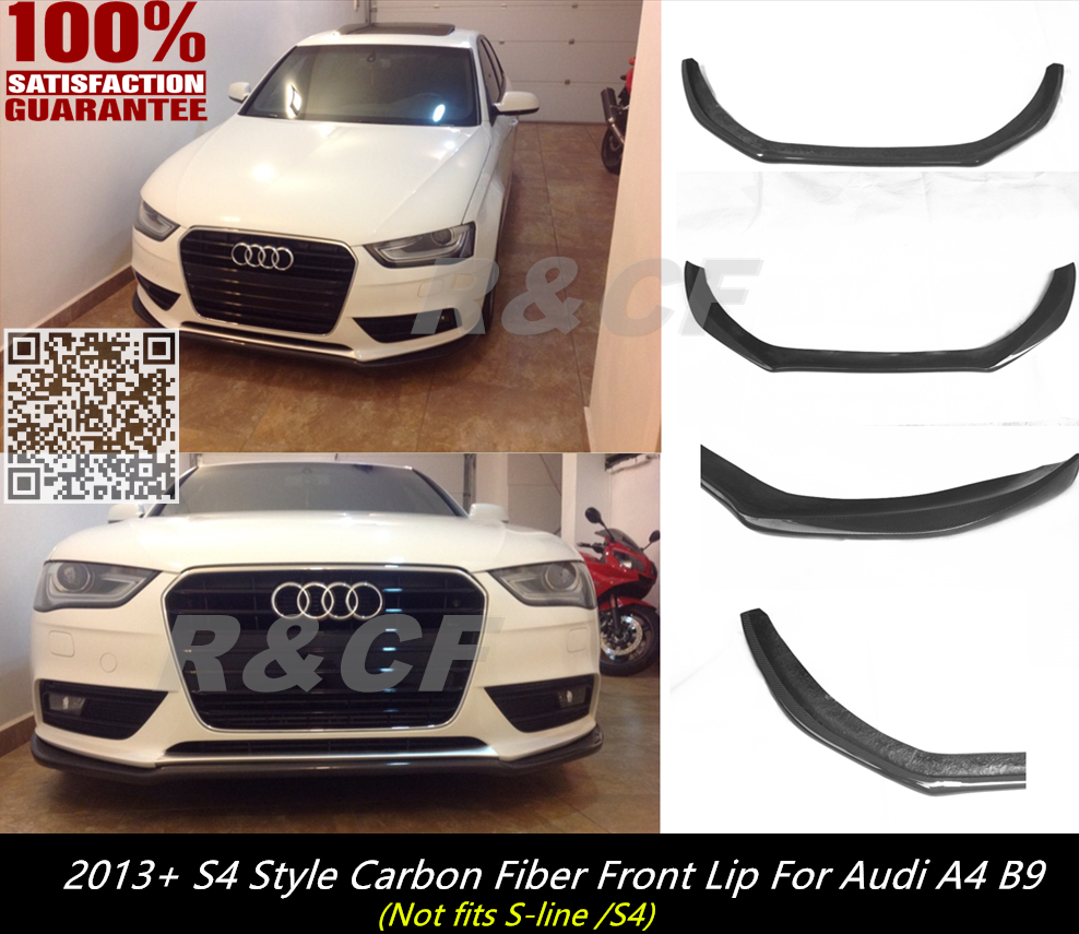 2013 a4 b9 s4 style front splitter carbon fiber front spoiler lip splitter diffuser for audi a4 b9 s4 style