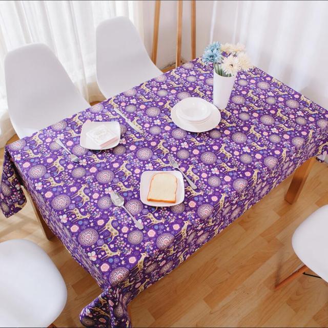 Linen TableCloth Purple Cartoon Christmas Deer Print High Quality Tablecloth  Table Cover Manteles Para Mesa Free