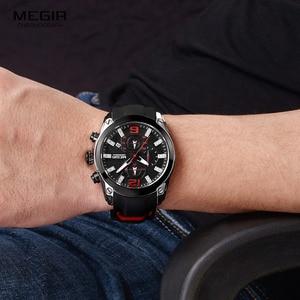 Image 4 - Megir herren Chronograph Analog Quarz Uhren Mode Rubber Strap Sport Armbanduhr mit Leucht Hände für Jungen 2063GS BK 1