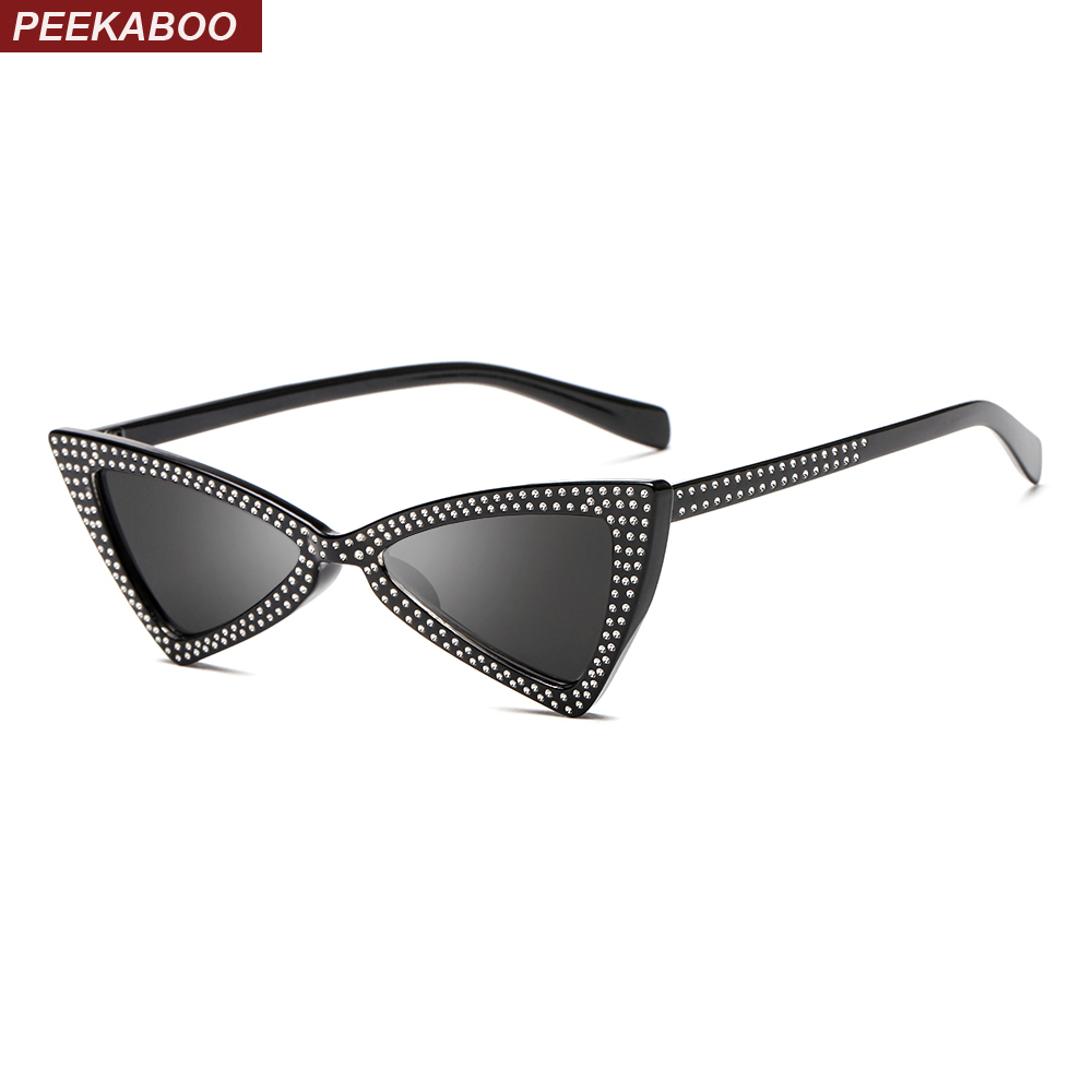 Peekaboo red triangle sunglasses women 2018 new fashion design cat eye sun glasses for women gift rhinestone decoration