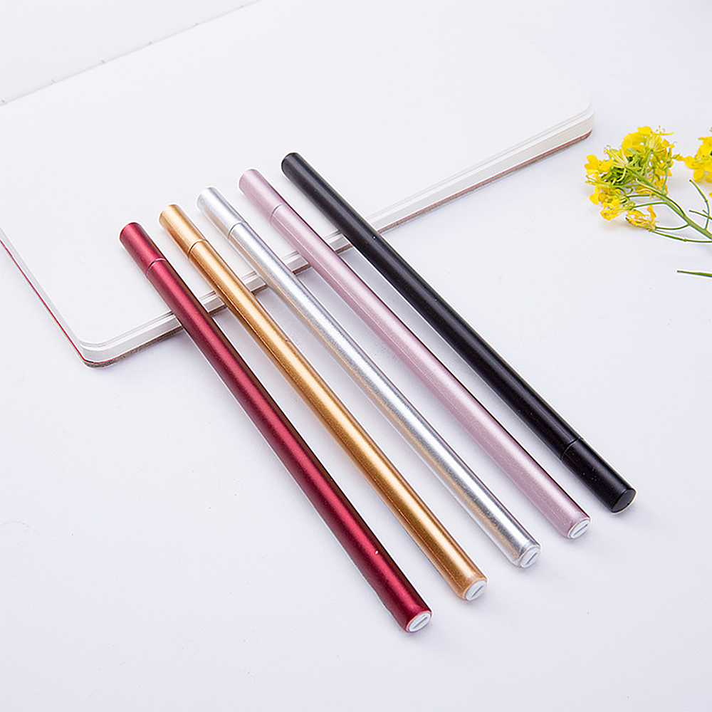 5 Colors 0.5mm Black Ink Simulation Metal Gel Pens Cute Netural Pens for Kids Gift Office School Supplies Student Stationery