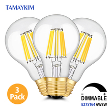 Free Shipping Dimmable E27 A60 LED Vintage Filament Light Lamp,6W 8W 220V-240V,Clear Glass Edison Bulb,2700K Warm White,3 Pack